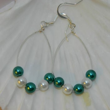 White and blue faux pearl beaded dangle earrings in silver plated wire hoop