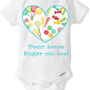 """Aqua Blue Girl Candy Heart Onesuit - Funny Baby Gift:  - """"Pour some sugar on me"""" Babyshower gift in preemie size - 24m Baby Clothes"""