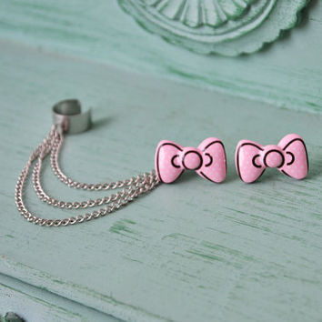 Polka Dot Bowtie Ear Cuff Pair by oflovelythings on Etsy