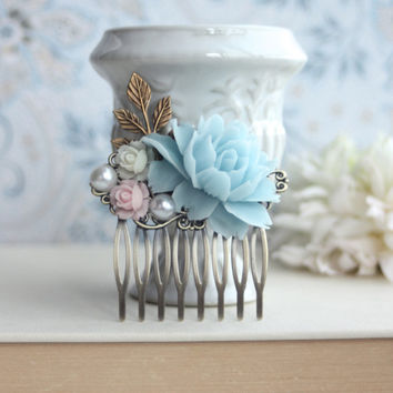 Soft Aqua Blue Rose, Pink, Ivory, Pearl, Leaf, Flower Hair Comb. Bridesmaid Gift, Country French Blue Wedding. Something Blue. Aqua and Pin