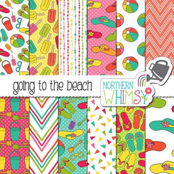 Beach Digital Paper - summer scrapbook papers in tropical colors - hat, sandal, ball, bucket & shovel seamless patterns - commercial use