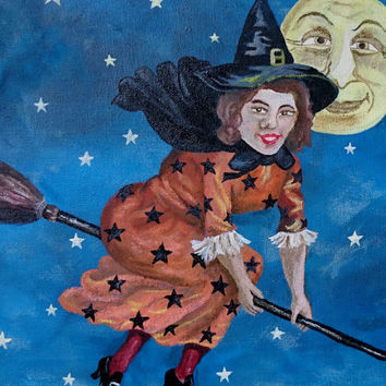 Midnight Witch Painting - Handmade Vintage Inspired Folk Art