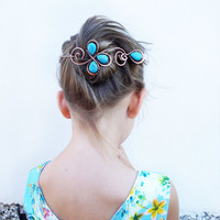 Hair clip, hair pin, copper hair slide, bun wrap, hair slide, turquoise, hair barrette,  hair accessory, hair clip for women, clip for hair