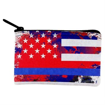 CUPUPWL Thin Blue Line Police Lives Matter Distressed Splatter Coin Purse