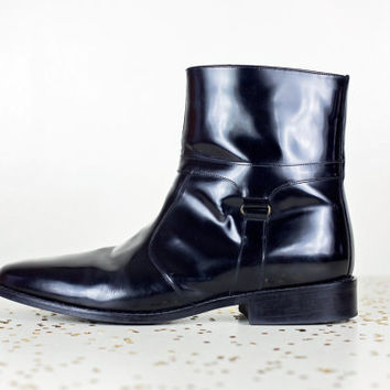 mens beatle boots 13 / black leather mens ankle boots / zipper hipster rocker boots