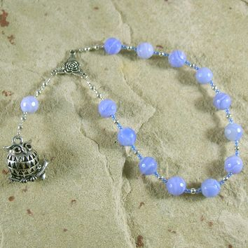 Athena Pocket Prayer Beads in Blue Lace Agate: Greek Goddess of Wisdom, Weaving, War