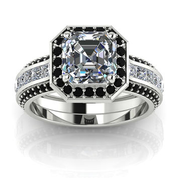Princess Cut Engagement Ring Silver with Black Diamonds Created Diamonds