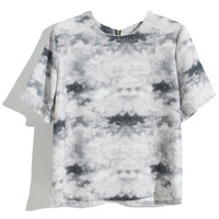 ROMWE | Black And Grey Tie-dye T-shirt, The Latest Street Fashion