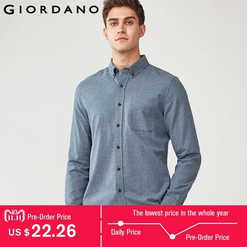 Giordano Men Shirt Men Flannel 100% Cotton Camisa Masculina Long Sleeve Casual Shirt Warm Classic Social Shirts Male