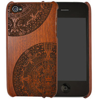 Sapele wood iPhone case. 4&4S. Single piece. Aztec engraving.
