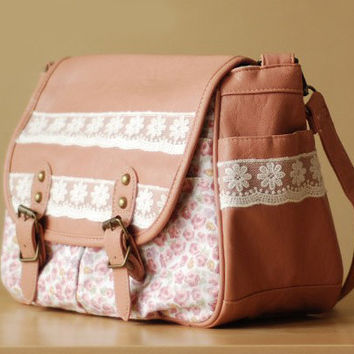 crossbody Cotton and linen flower lace pu shoulder bag