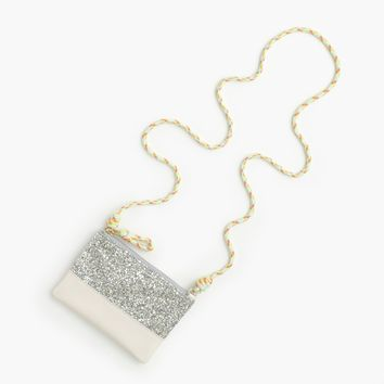 Girls' Leather Pouchette Bag With Glitter : Girls' Bags | J.Crew