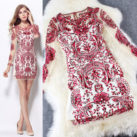 Red Sheer Meshed Long Sleeve Paisley Printed Mini Dress
