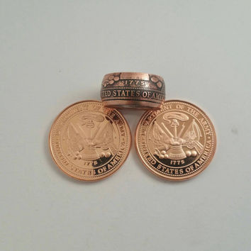 US Army Ring - Hand Forged .999 Pure Copper Coin Ring