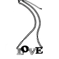 CRYSTAL ACCENTED LOVE NECKLACE