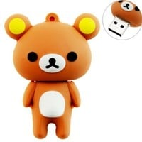 8GB USB Flash Drive with Cute Rilakkuma Shape 8G Memory Stick U Disk - Brown