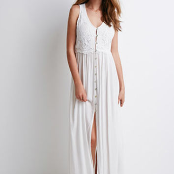 Crochet Yoke Maxi Dress
