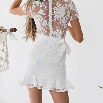 Rosalin White Wrap-Around Lace Dress