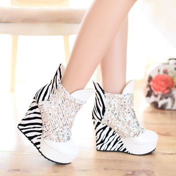 Sequined Wedges Ankle Boots Patent Leather Women Platform Shoes