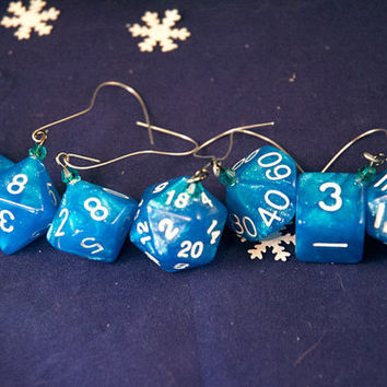 Blue and White Dice Ornaments - Gamer Christmas Decorations with Teal Crystal Accents