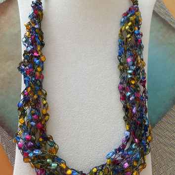 Jewel Trellis Ribbon Ladder Yarn  Necklace Free Shipping