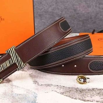 Hermes New fashion stripe metal buckle couple splice belt Coffee