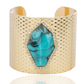 Goldtone with Turquoise and Centered Stones Dented Design Cuff Bangle Bracelet
