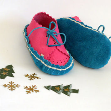 Pink Turquoise Baby Leather Suede Moccasin Booties by ShamrockArts