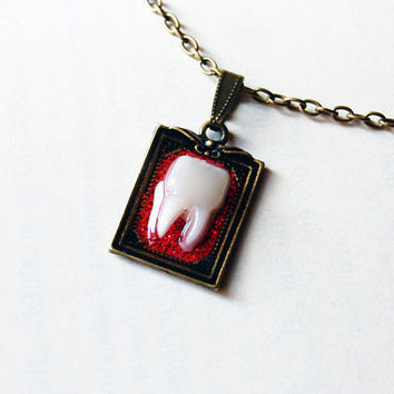 Sparkly Red Glitter Tooth - Handmade Vintage Cameo Pendant Necklace