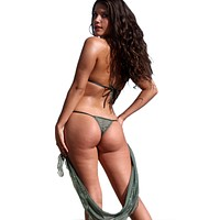 Ujena Olive Sheer Bubbles Bikini Bottom Only
