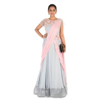 Hand Embroidered Pastel Pink & Grey Saree Gown