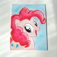 "Pinkie Pie Cute MLP Art Painting Canvas Flat 6"" x 8"""