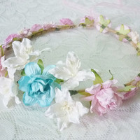 Pastel flower headband light blue pink Rose lily /flower headpiece /Flower hair wreath /floral headpiece/ Hair accessories