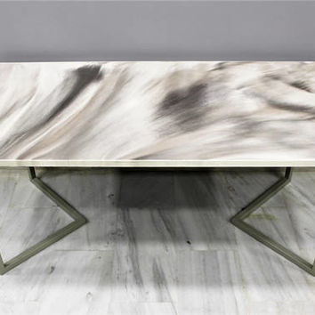 "Dining table ""Marble skies"", resin table, abstract, resin art, luxury furniture,modern furniture, stainless steel, living room,dining"