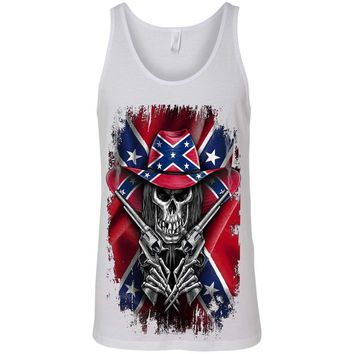 Men's Tank Top Confederate Rebel Flag Cowboy Skeleton