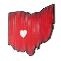 Any State Cut Out wooden wall decor hand painted in red, black, gray and white, city star or city heart, made to order Ohio state wall art