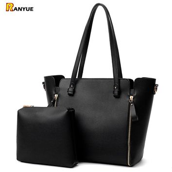 Double Zipper Women's Shoulder Bags Purse Set Large Capacity Woman Bag Bolsas Feminina Ladies Casual Tote Bag Bolsos Mujer Couro