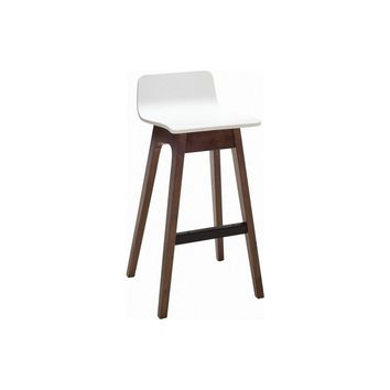 "Modern Walnut & White ""Ava"" Low Back Bar Stool with Slanted Legs"
