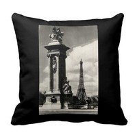 Alexander III Bridge and Eiffel Tower in Paris Throw Pillow