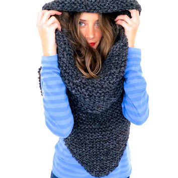 Chunky Soft Knit Poncho, Scarf, Cowl, Hood All in One // Armor Scarf  in Thunderstruck // Many Colors and Vegan Options Available