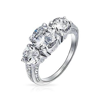 Milgrain 3 CT Solitaire 3 Stone CZ Engagement Ring 925 Sterling Silver