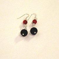 Black Polka Dot Agate and Red Coral Earrings, Dangle Earrings, Red and Black Earrings, Gemstone Earrings, UK Seller
