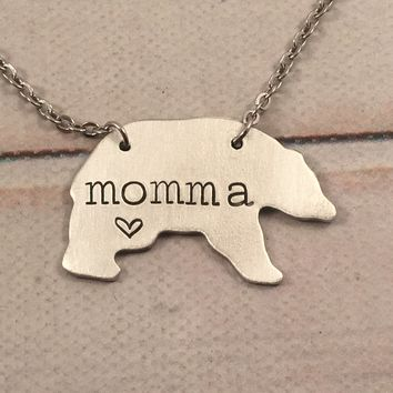 """Momma"" Bear Necklace - Bronze, Copper, or Aluminum"