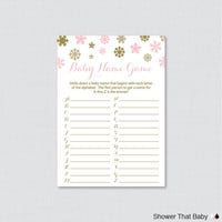 Winter Baby Shower Baby Name Game - Baby Name Race Game - Printable Download - A to Z Baby Game Pink and Gold Snowflake Baby Game- 0004-G