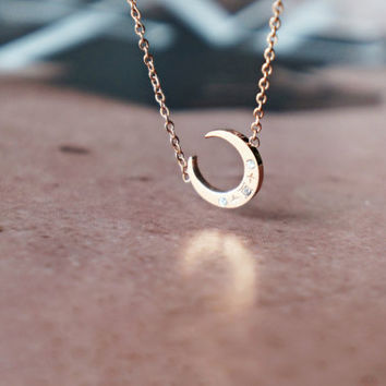 crescent moon necklace - rose gold titanium