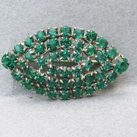 Antique Edwardian Emerald Green Paste Collar Brooch