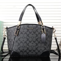 """Coach"" Temperament Fashion Classic Letter Logo Print Single Shoulder Messenger Bag Women Handbag"