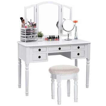 SONGMICS Vanity Set Tri-Folding Mirror Make-up Dressing Table Cushioned Stool 5 Drawers White URDT108M