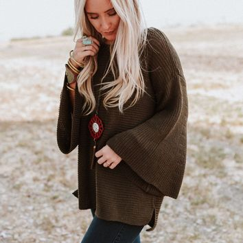 Begin Again Bell Sleeve Sweater - Olive