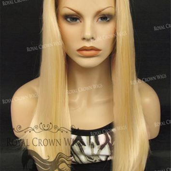 "24 inch Heat Safe Synthetic Straight Texture Lace Front ""Aphrodite"" in Platinum Blonde"